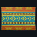 """Mexican /Tribal Style pattern -Orange and Blue Placemat<br><div class=""""desc"""">Mexican /Tribal Style pattern -Orange and Blue</div>"""