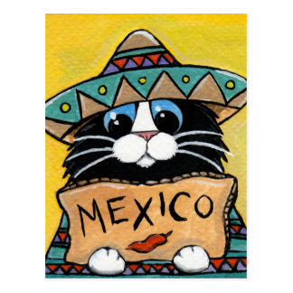 Mexican Tuxedo Cat Hitchhiker Postcard