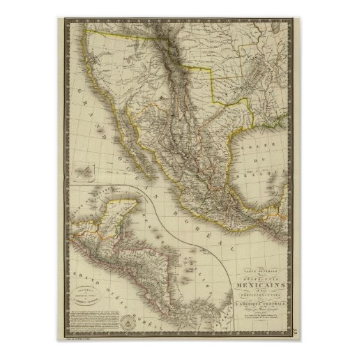 Mexican United States, Central America Poster