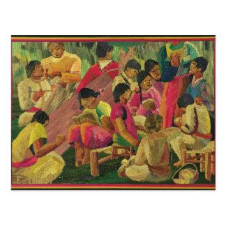 Mexican village scene postcard