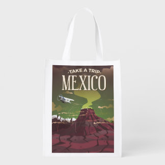 Mexican Volcano vintage travel poster Reusable Grocery Bag