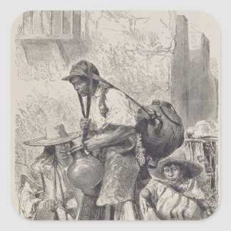Mexican Water-Carrier Square Sticker