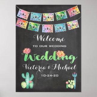 Mexican Watercolor cactus banner Wedding Sign