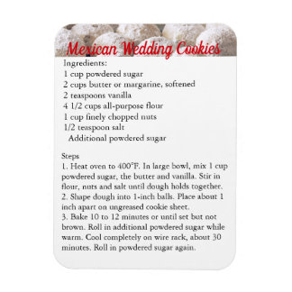 """Mexican Wedding Cookies"" Recipe Magnet Fridge"