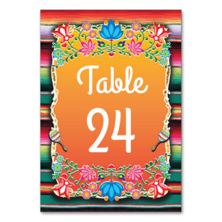 Mexican Wedding Fiesta table numbers