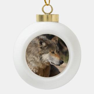 Mexican Wolf Portrait Ceramic Ball Christmas Ornament