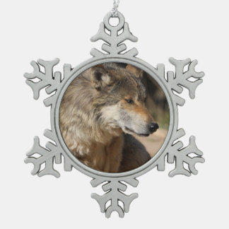 Mexican Wolf Portrait Snowflake Pewter Christmas Ornament