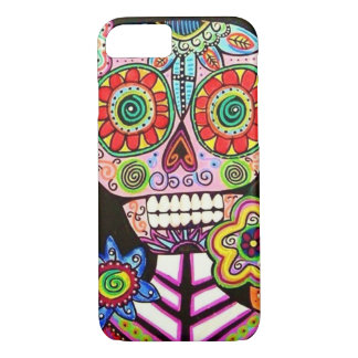 Mexican Woman Pink Sugar Skull Flowers iPhone iPhone 7 Case