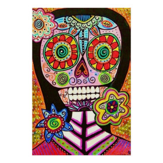 Mexican Woman Pink Sugar Skull Poster