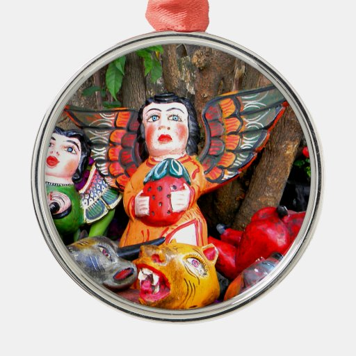 Mexican wooden angels round metal christmas ornament zazzle