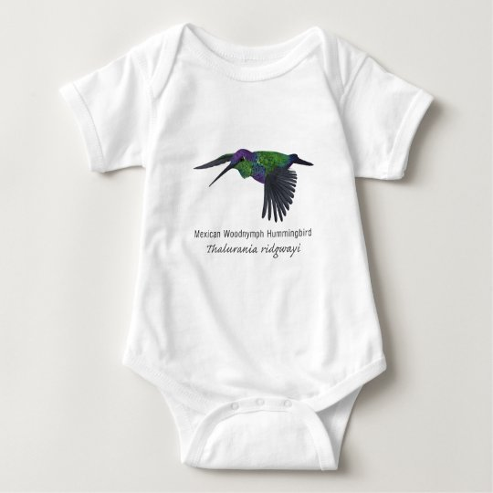 Mexican Woodnymph Hummingbird with Name Baby Bodysuit