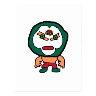 Mexican Wrestler Cartoon Illustration Postcard
