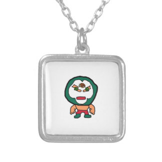 Mexican Wrestler Cartoon Illustration Silver Plated Necklace