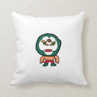 Mexican Wrestler Cartoon Illustration Throw Pillow