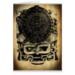Mexicano azteca Sunstone de la máscara del diseño  Tarjetas