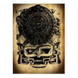 Mexicano azteca Sunstone de la máscara del diseño  Tarjeta Postal