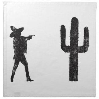 Mexicano contra el cactus servilletas imprimidas