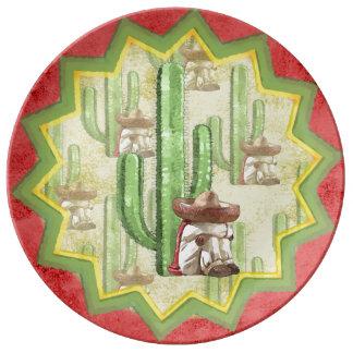 Mexicano durmiente debajo del cactus platos de cerámica