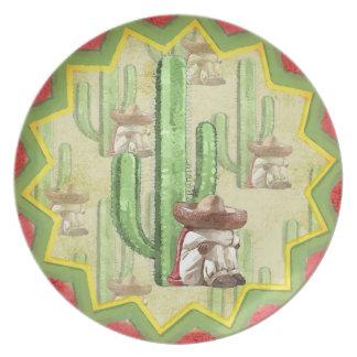 Mexicano durmiente debajo del cactus platos para fiestas