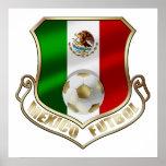 Mexicano Futbol badge emblem soccer Shield Poster