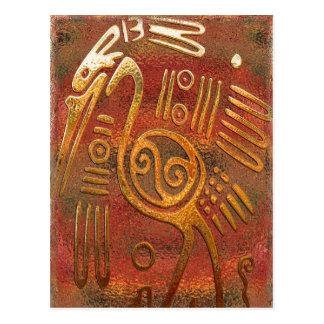 Mexicano Gold Chrome Tribal Art Postcard