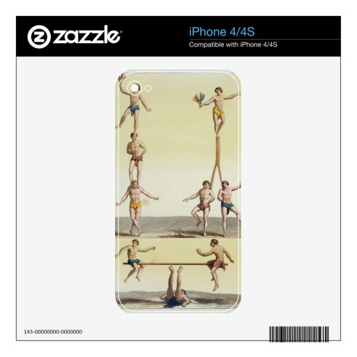 Mexicans Performing Gymnastics (colour litho) Decal For iPhone 4