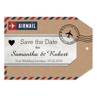 Mexico Airmail Kraft Luggage Tag Save The Dates 5x7 Paper Invitation Card