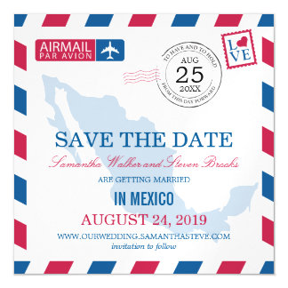 Mexico Airmail Save the Date Magnetic Card