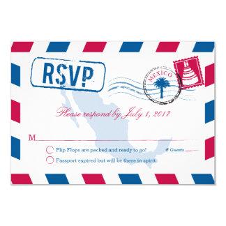 Mexico Airmail Wedding RSVP Card