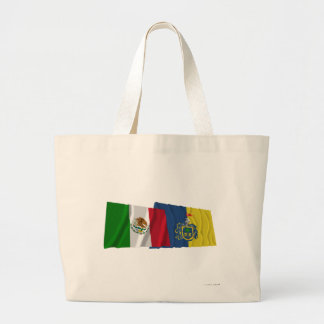 Mexico and Jalisco Waving Flags Canvas Bags