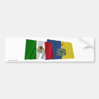 Mexico and Jalisco Waving Flags Car Bumper Sticker