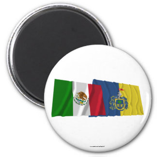 Mexico and Jalisco Waving Flags Refrigerator Magnets