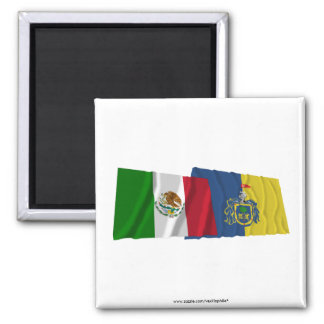 Mexico and Jalisco Waving Flags Magnet