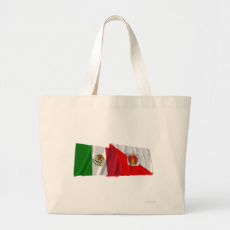 Mexico and Tlaxcala Waving Flags Tote Bag