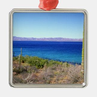 México, Baja California Sur, Mulege, Bahía 2 Adorno Cuadrado Plateado