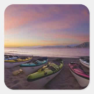 México, Baja, mar de Cortez. Kajaks del mar y Calcomanía Cuadradas Personalizadas