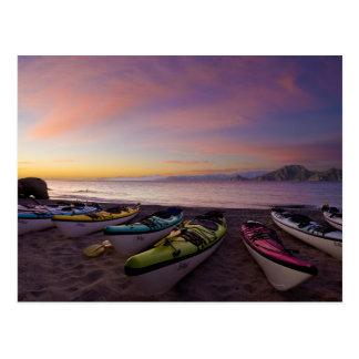México, Baja, mar de Cortez. Kajaks del mar y Tarjetas Postales