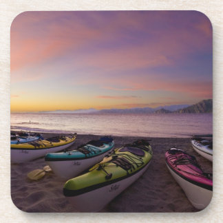 Mexico, Baja, Sea of Cortez. Sea kayaks and Drink Coaster