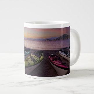 Mexico, Baja, Sea of Cortez. Sea kayaks and Large Coffee Mug