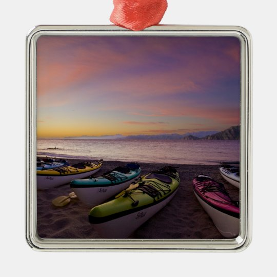 Mexico, Baja, Sea of Cortez. Sea kayaks and Metal Ornament