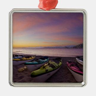 Mexico, Baja, Sea of Cortez. Sea kayaks and Christmas Ornaments