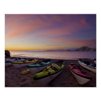 Mexico, Baja, Sea of Cortez. Sea kayaks and Poster