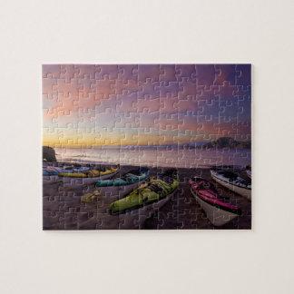 Mexico, Baja, Sea of Cortez. Sea kayaks and Jigsaw Puzzles