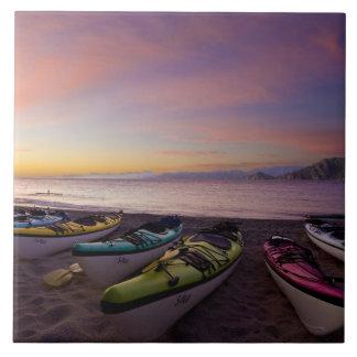 Mexico, Baja, Sea of Cortez. Sea kayaks and Tile