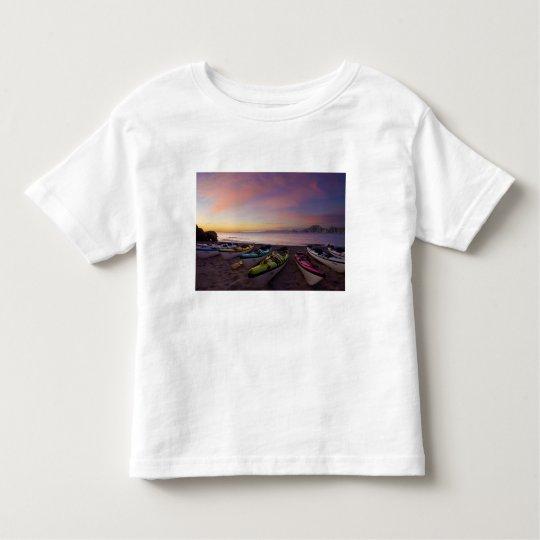 Mexico, Baja, Sea of Cortez. Sea kayaks and Toddler T-shirt