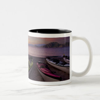 Mexico, Baja, Sea of Cortez. Sea kayaks and Two-Tone Coffee Mug