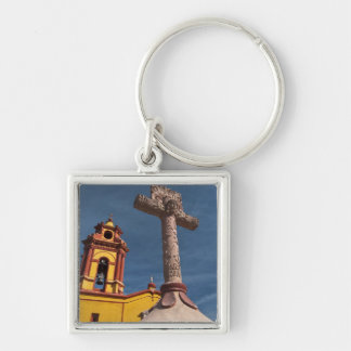 Mexico, Bernal. View of Iglesia de San Sebastian Keychain