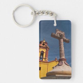 Mexico, Bernal. View of Iglesia de San Sebastian Key Chains