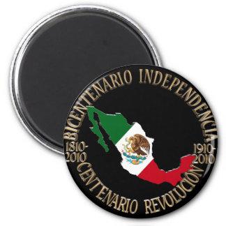 México bicentenario y celebración del centenario imán redondo 5 cm