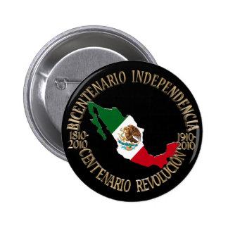 México bicentenario y celebración del centenario pin redondo de 2 pulgadas